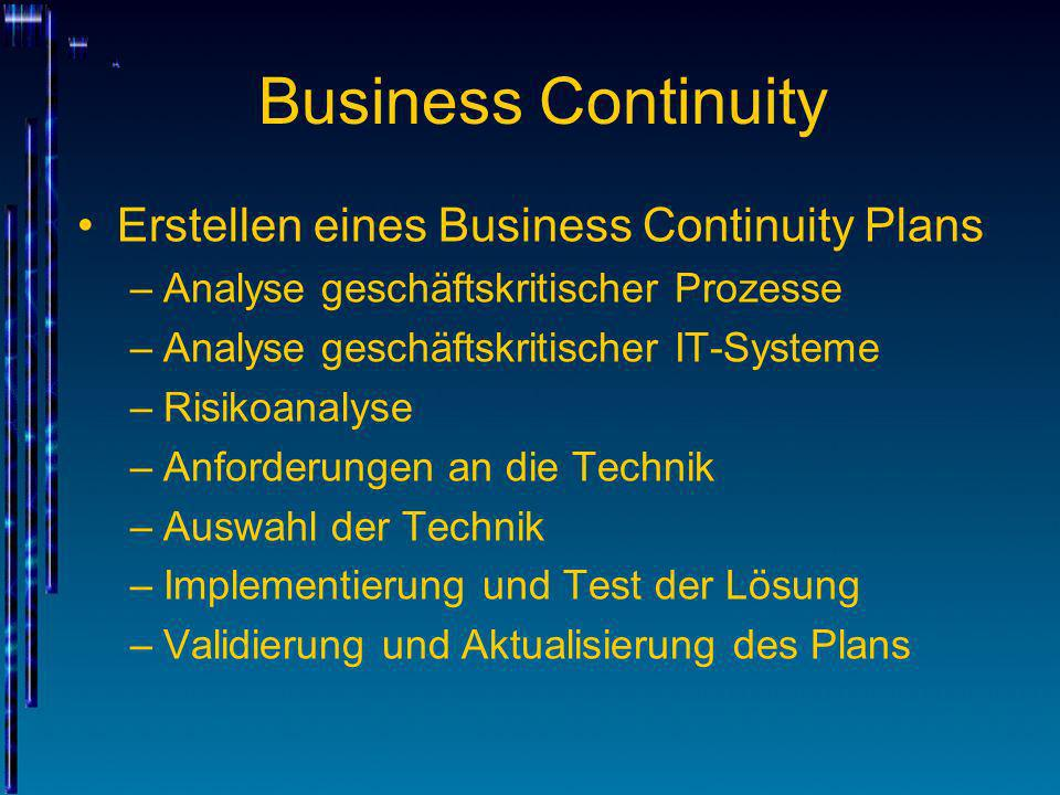 Business Continuity Erstellen eines Business Continuity Plans