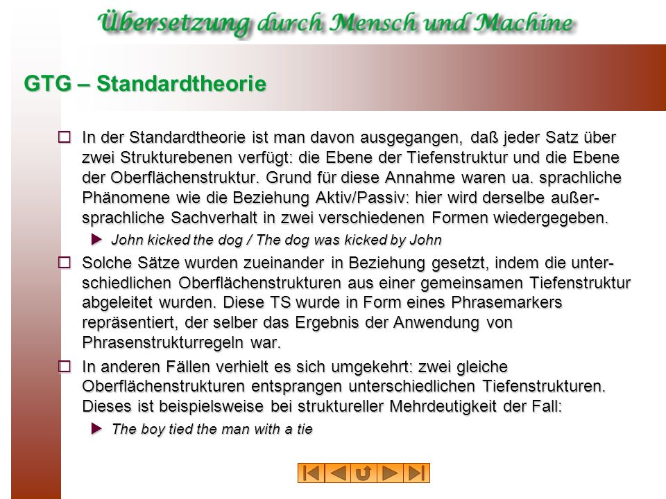 GTG – Standardtheorie