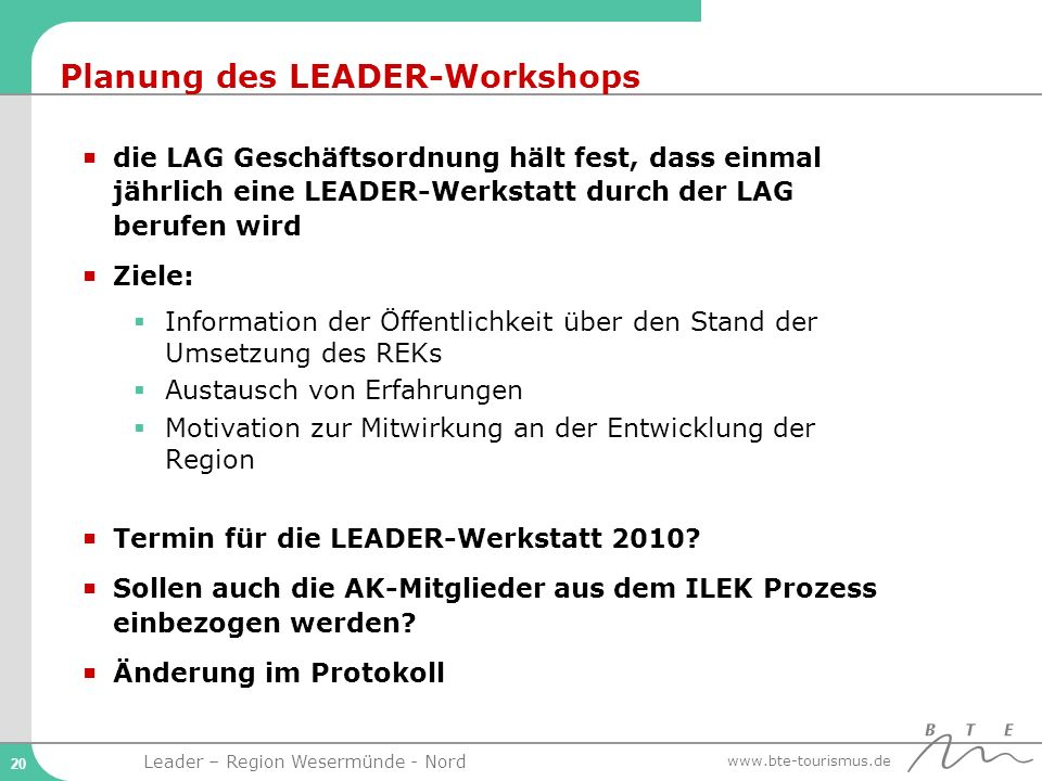 Planung des LEADER-Workshops