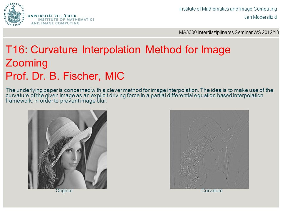 T16: Curvature Interpolation Method for Image Zooming Prof. Dr. B