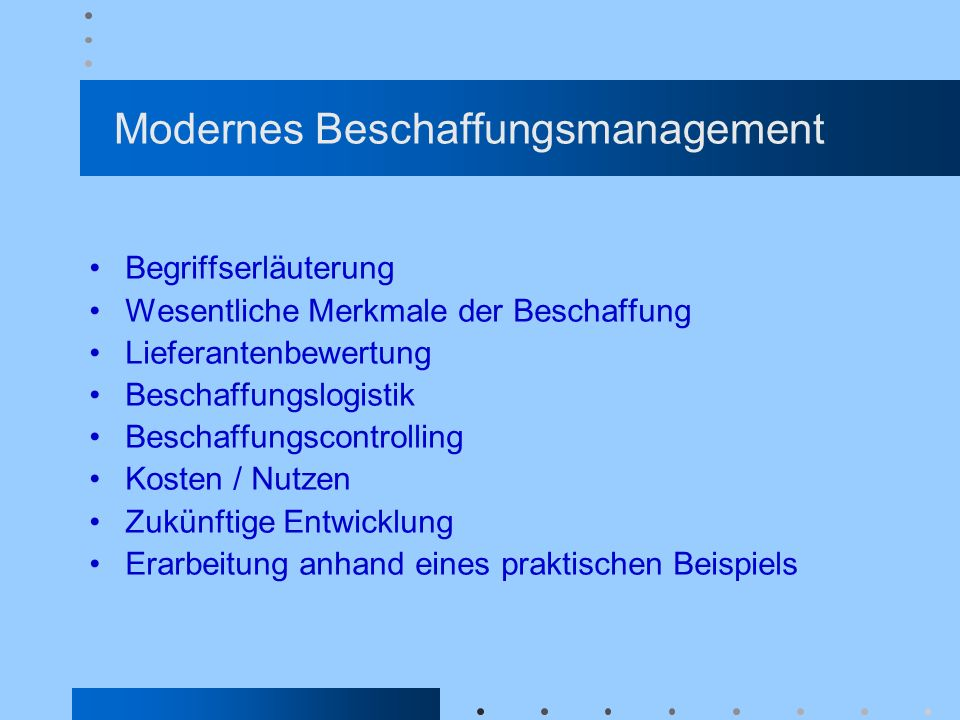 Modernes Beschaffungsmanagement