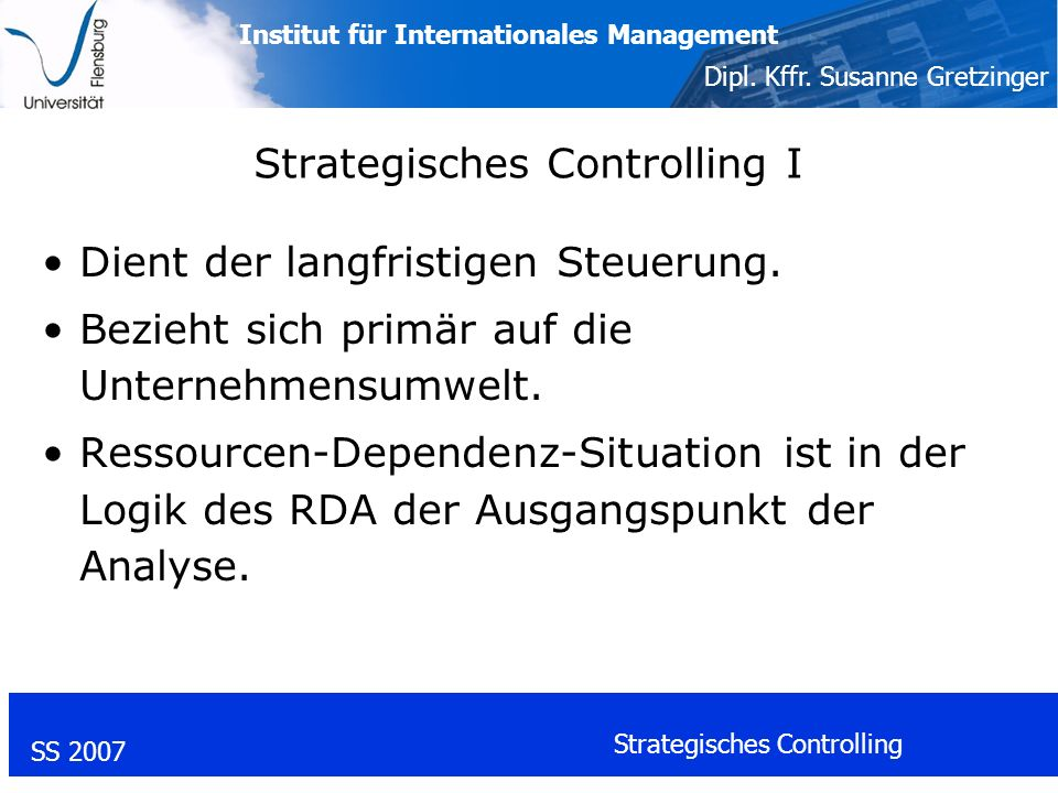 Strategisches Controlling I