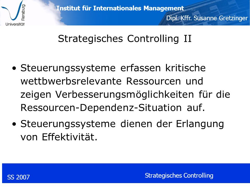 Strategisches Controlling II