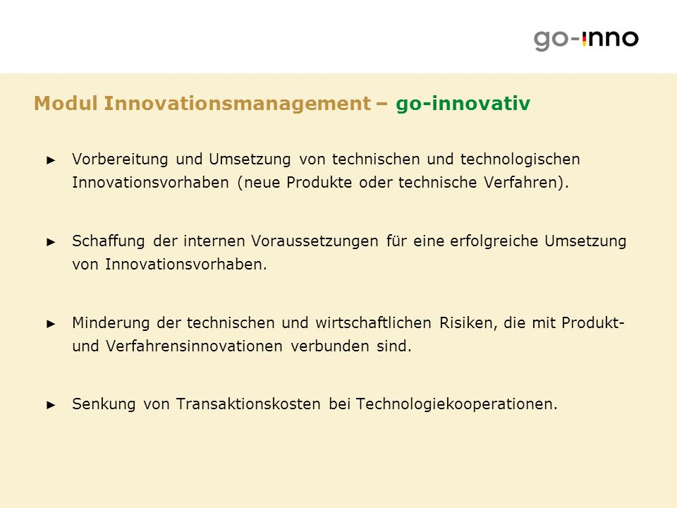 Modul Innovationsmanagement – go-innovativ