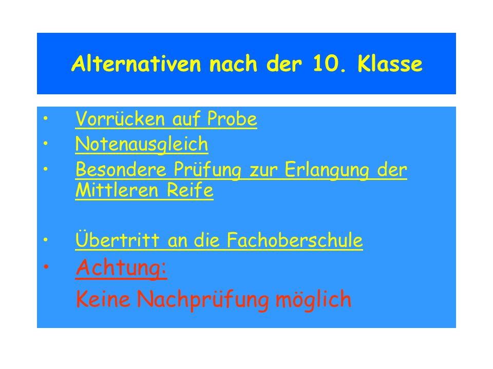 Alternativen nach der 10. Klasse