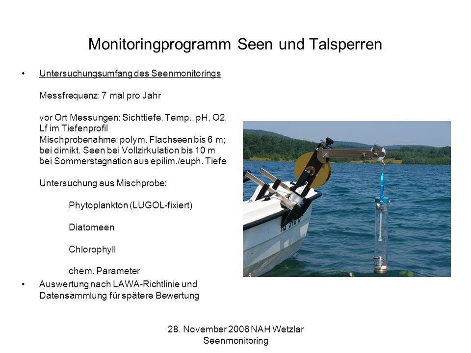 Monitoringprogramm Seen und Talsperren