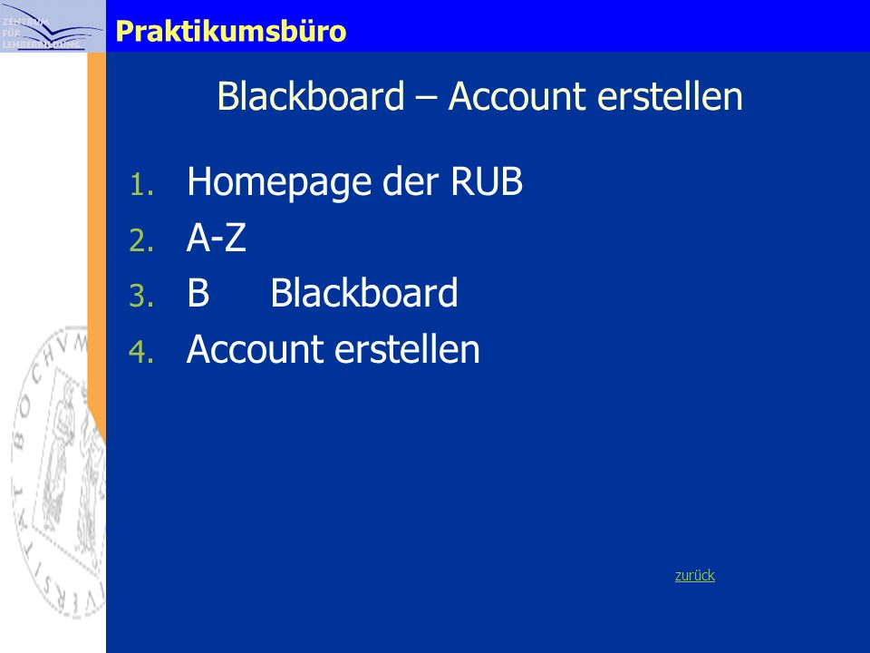 Blackboard – Account erstellen