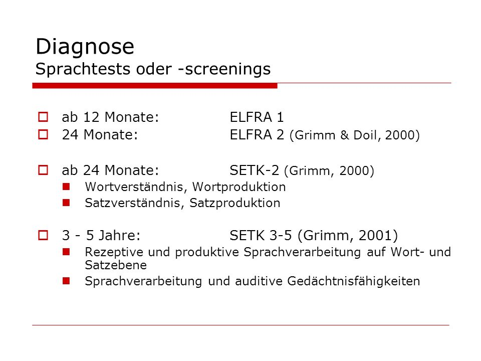 Diagnose Sprachtests oder -screenings