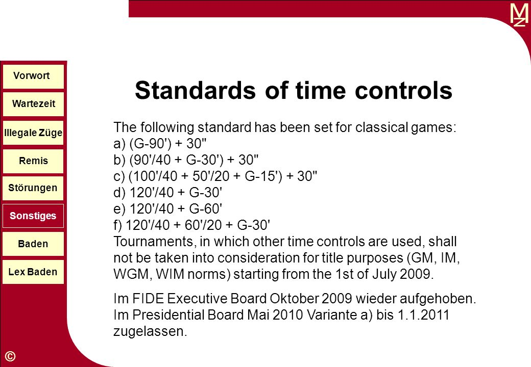 Standards of time controls