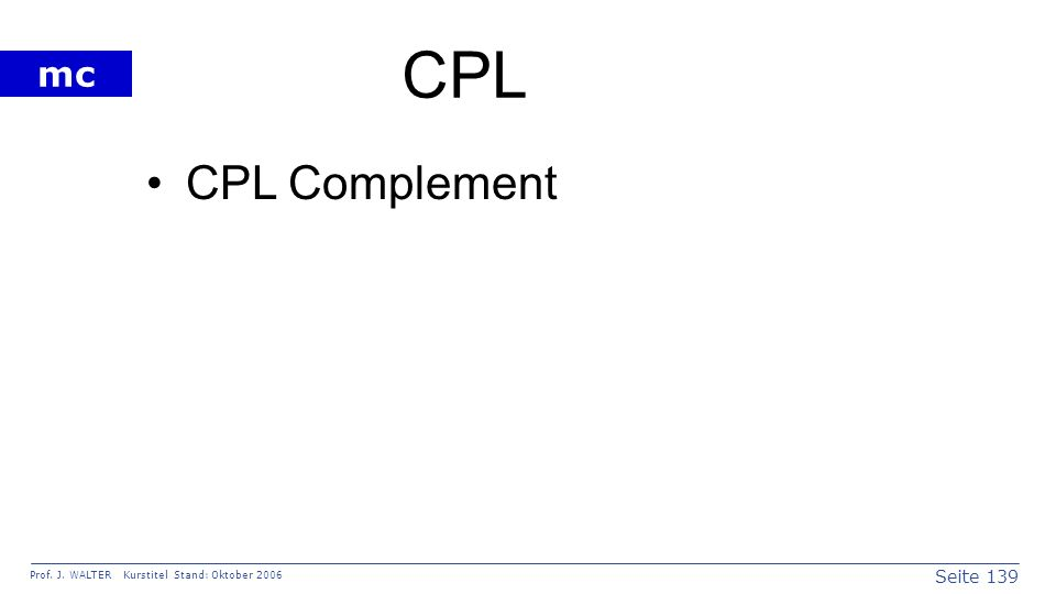CPL CPL Complement