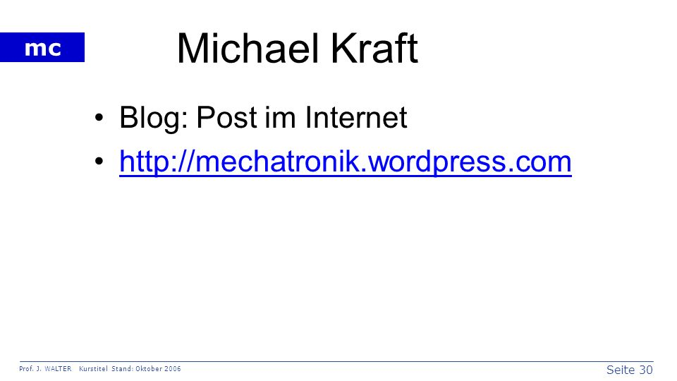 Michael Kraft Blog: Post im Internet