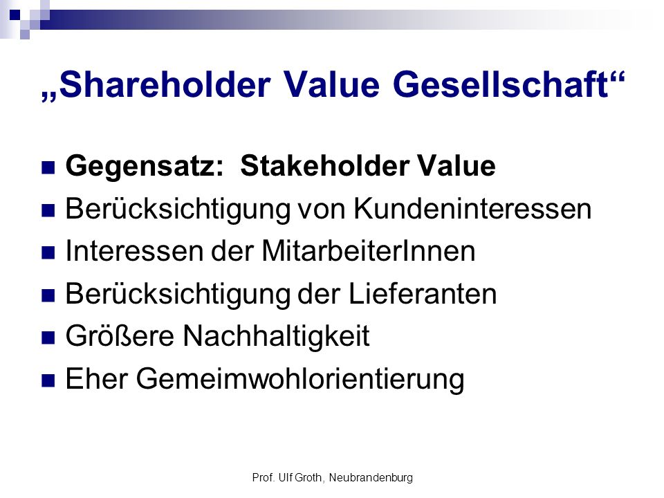 """Shareholder Value Gesellschaft"