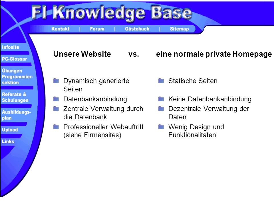 eine normale private Homepage