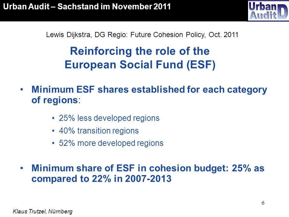 Reinforcing the role of the European Social Fund (ESF)