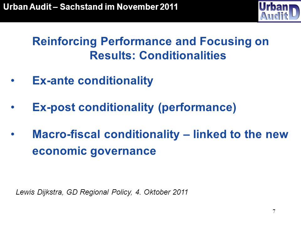 Reinforcing Performance and Focusing on Results: Conditionalities