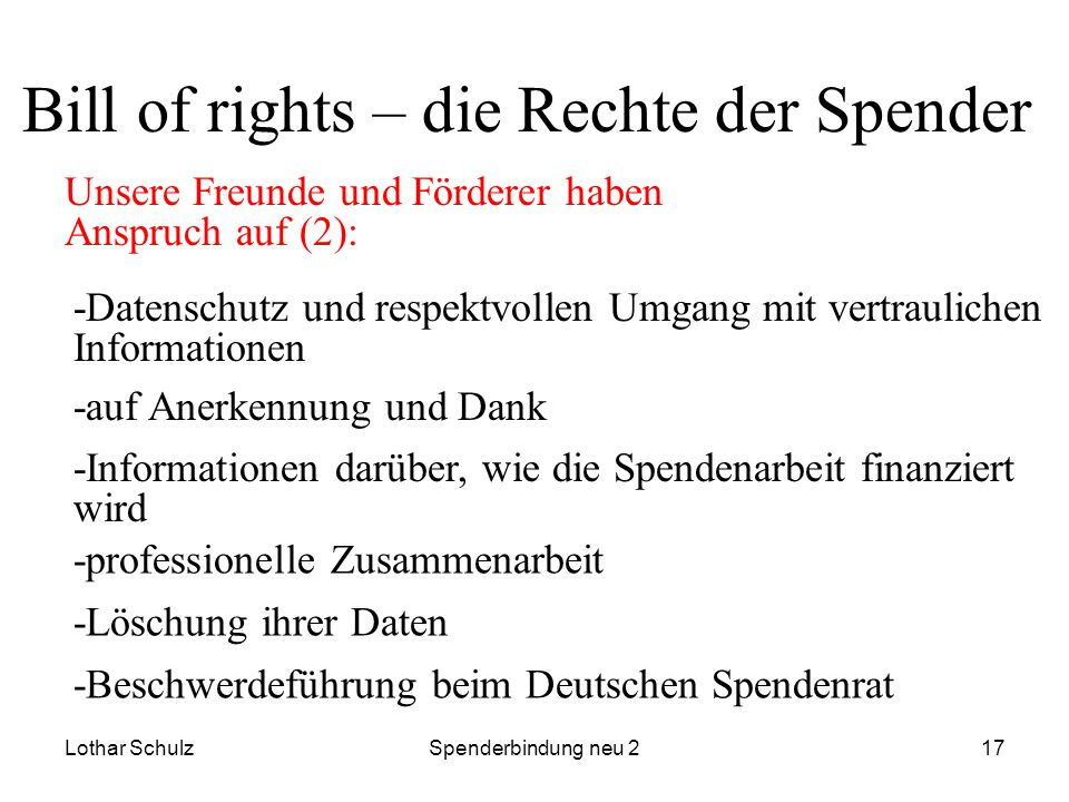 Bill of rights – die Rechte der Spender