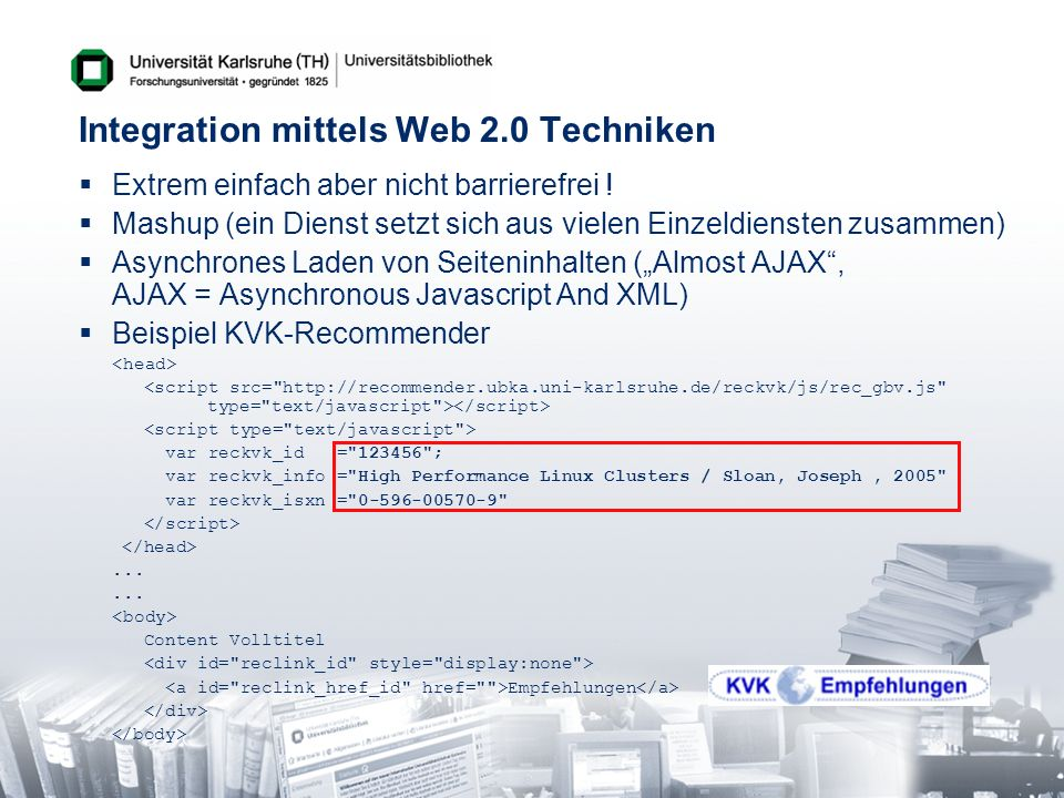 Integration mittels Web 2.0 Techniken
