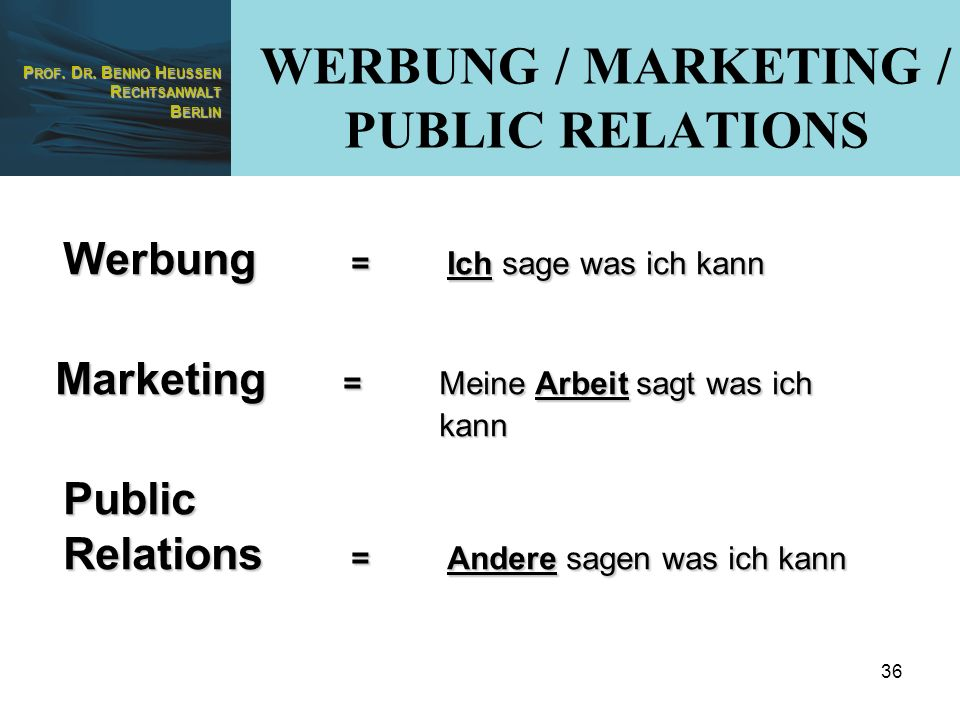 WERBUNG / MARKETING / PUBLIC RELATIONS