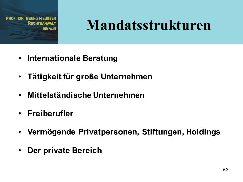 Mandatsstrukturen Internationale Beratung
