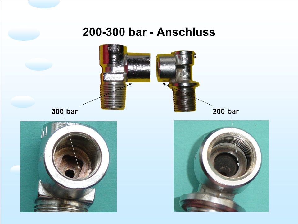 bar - Anschluss 300 bar 200 bar