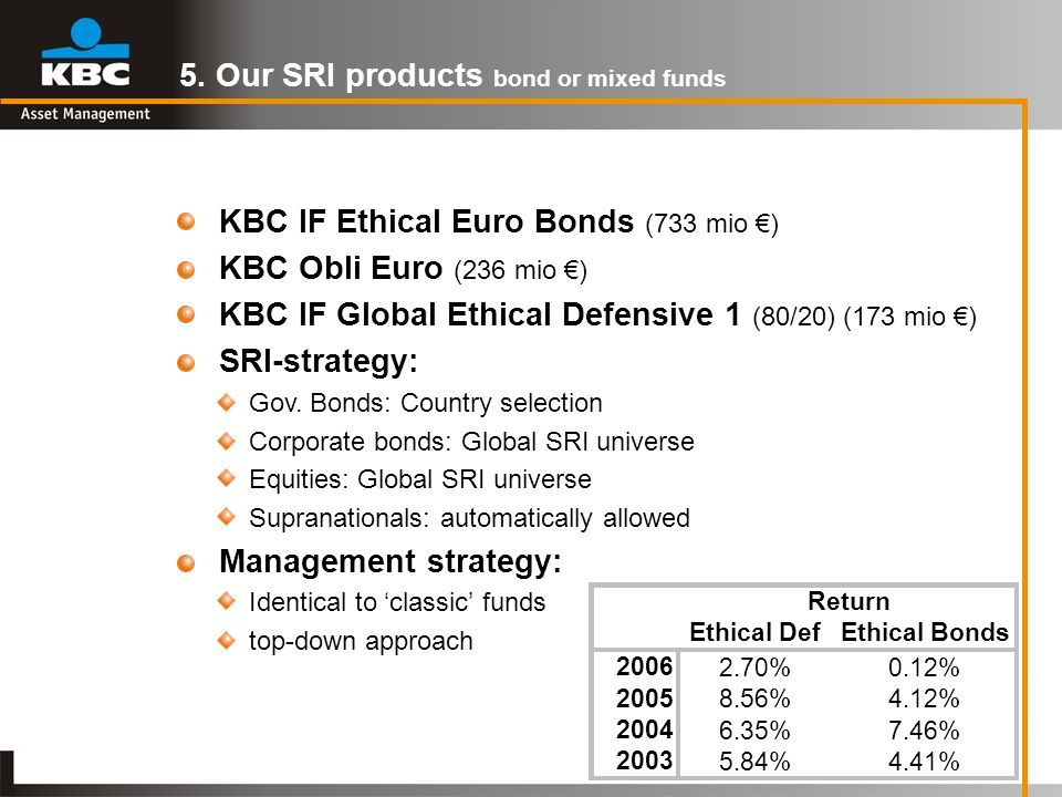 5. Our SRI products bond or mixed funds