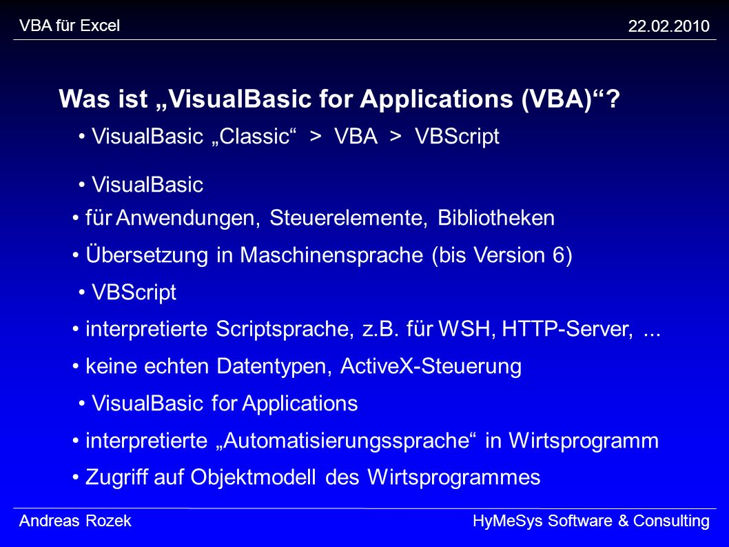 "Was ist ""VisualBasic for Applications (VBA)"