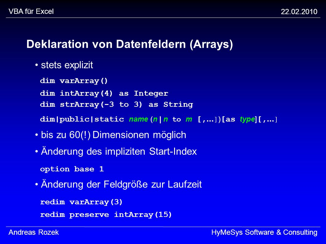 Deklaration von Datenfeldern (Arrays)