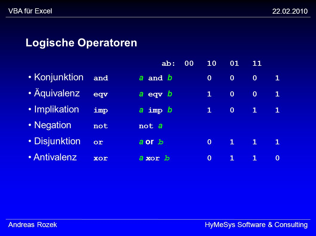 Logische Operatoren ab: 00 10 01 11 • Konjunktion and a and b 0 0 0 1
