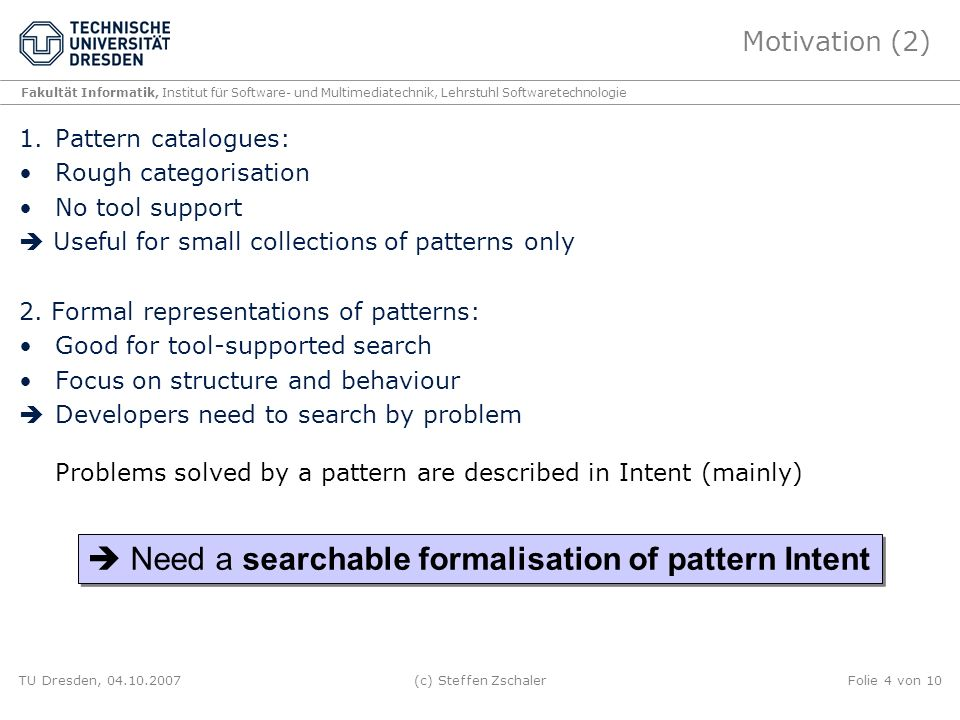  Need a searchable formalisation of pattern Intent