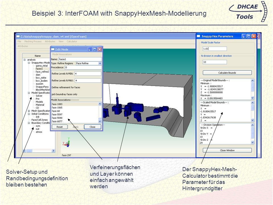 Beispiel 3: InterFOAM with SnappyHexMesh-Modellierung
