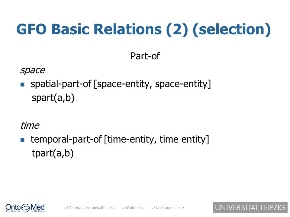 GFO Basic Relations (2) (selection)