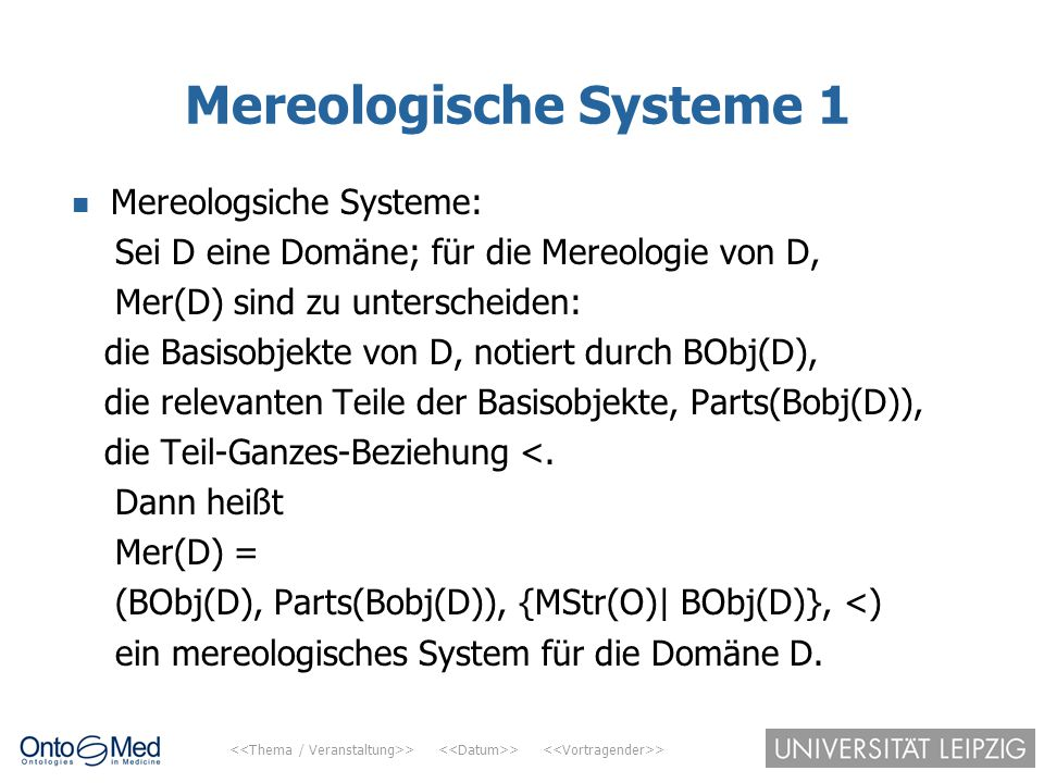 Mereologische Systeme 1