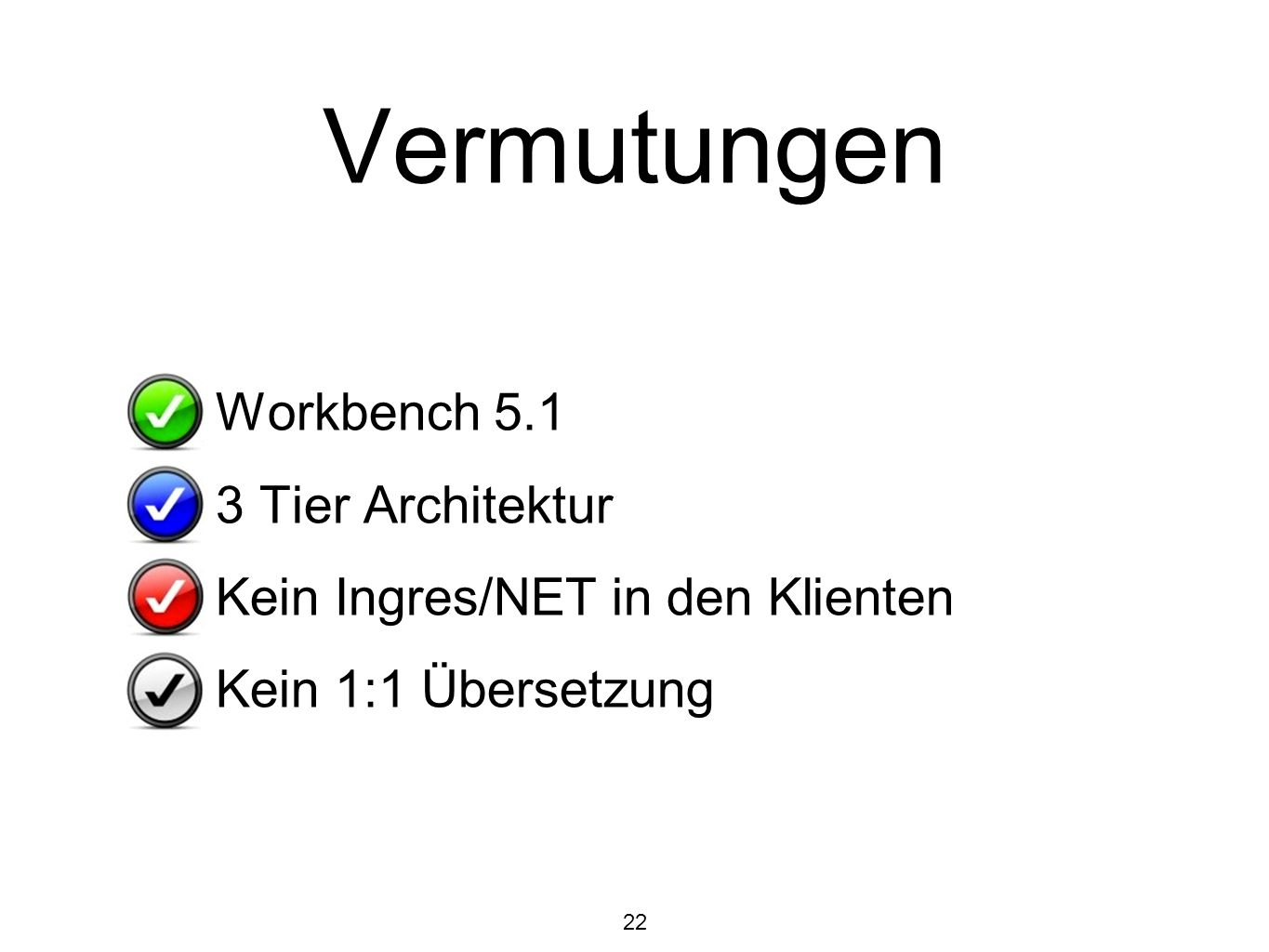 Vermutungen Workbench Tier Architektur
