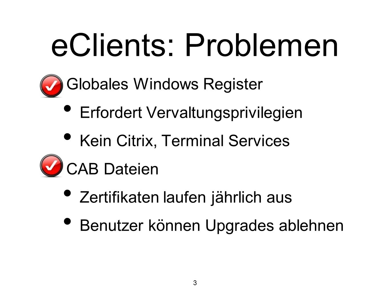 eClients: Problemen Globales Windows Register