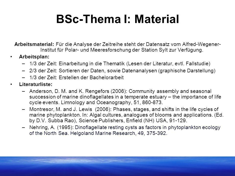 BSc-Thema I: Material