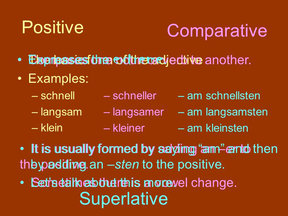 Positive Comparative Superlative Expresses the extreme.