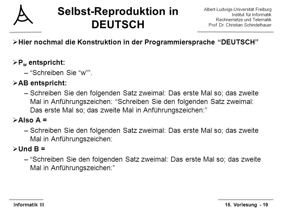Selbst-Reproduktion in DEUTSCH
