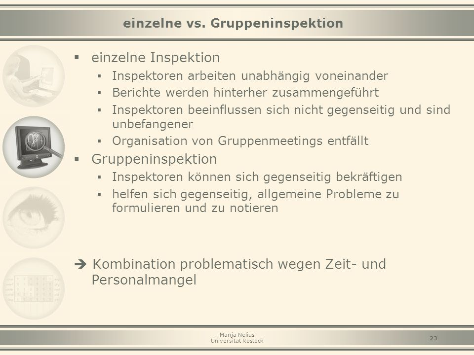 einzelne vs. Gruppeninspektion