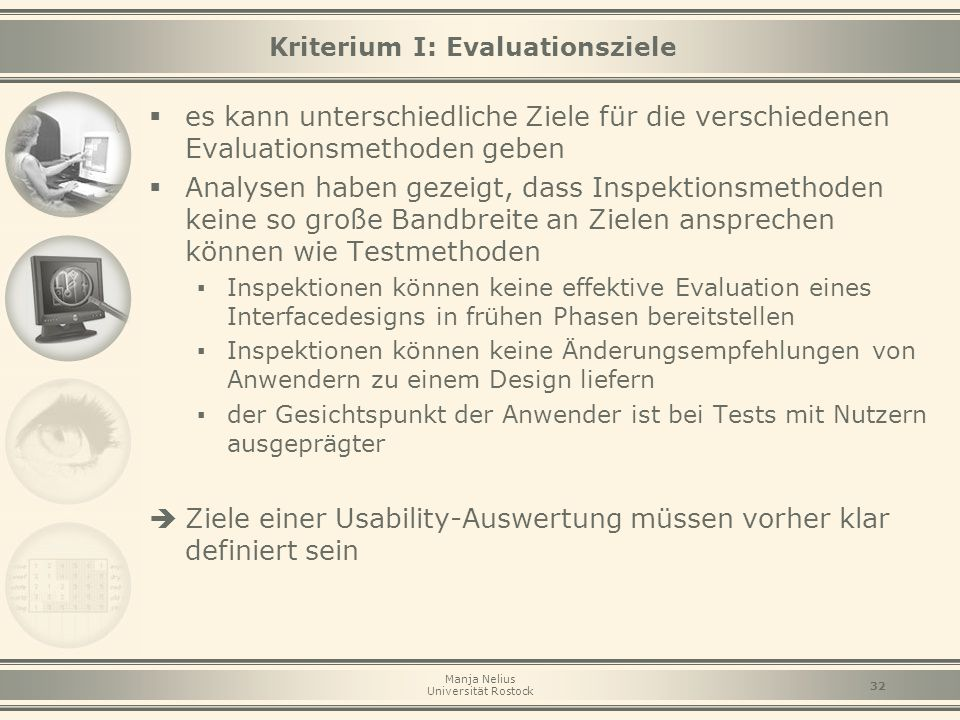 Kriterium I: Evaluationsziele