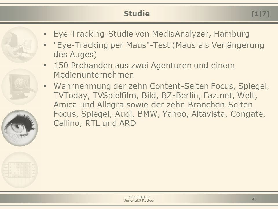 Eye-Tracking-Studie von MediaAnalyzer, Hamburg