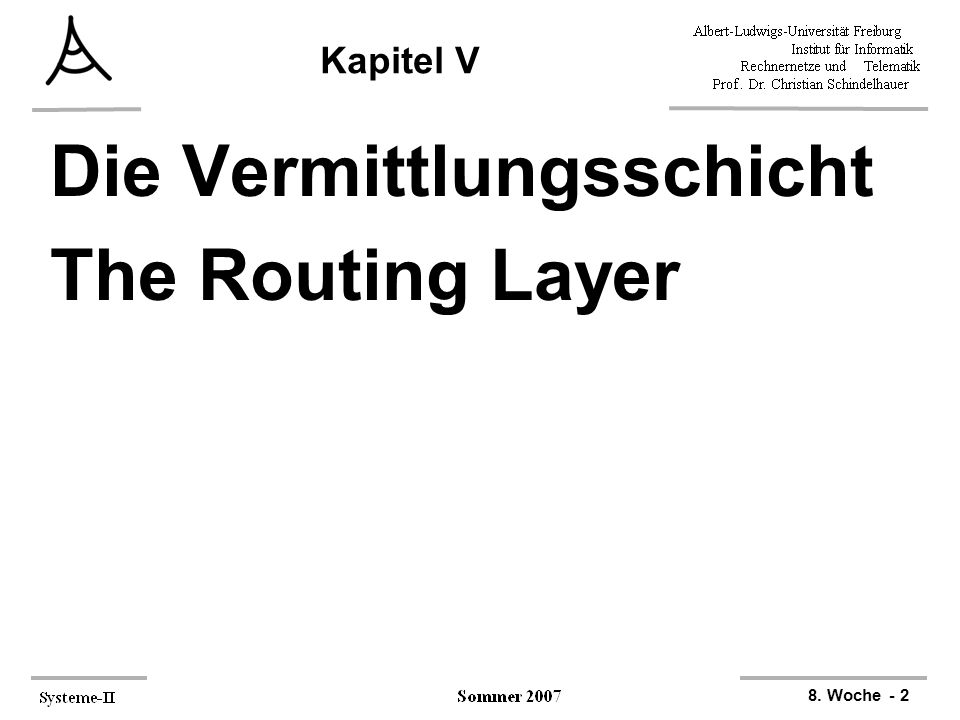 Die Vermittlungsschicht The Routing Layer