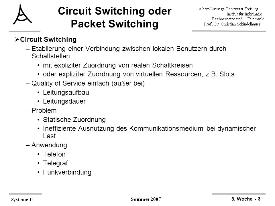 Circuit Switching oder Packet Switching