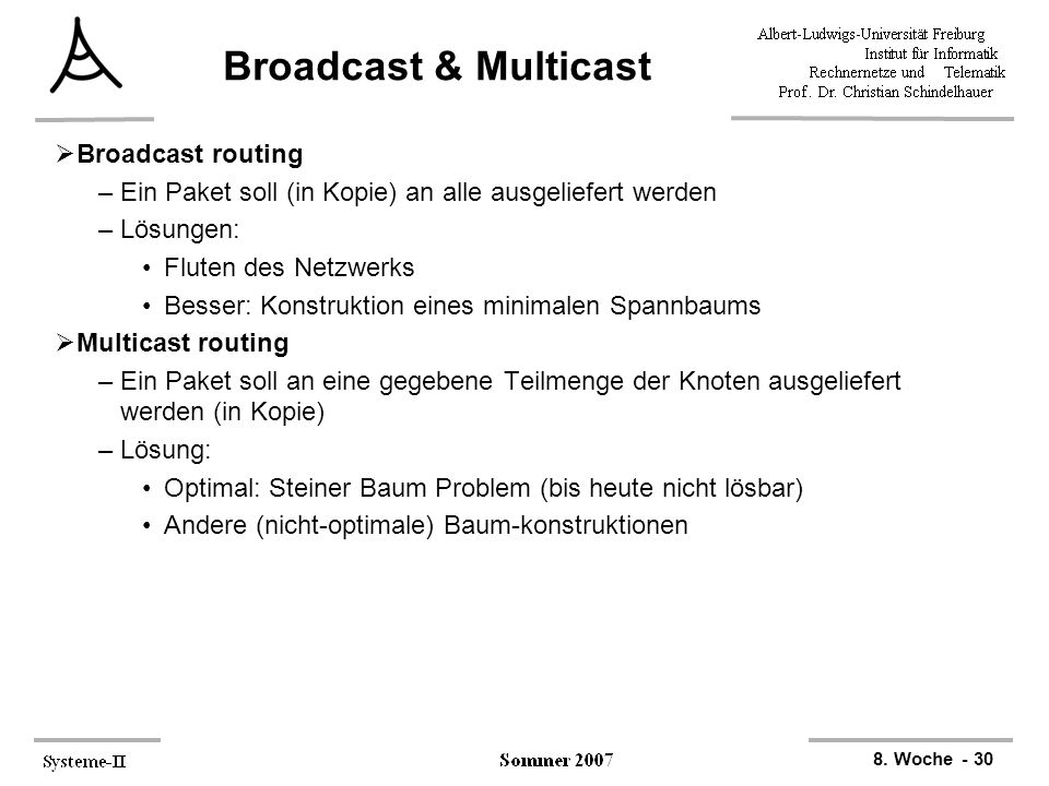 Broadcast & Multicast Broadcast routing