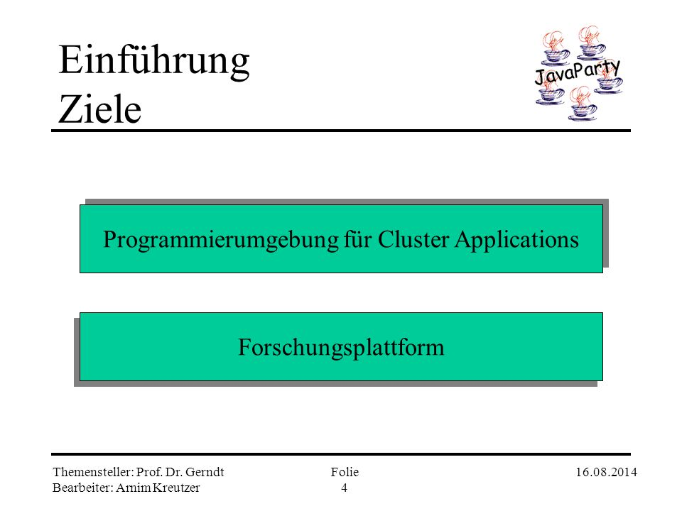 Programmierumgebung für Cluster Applications