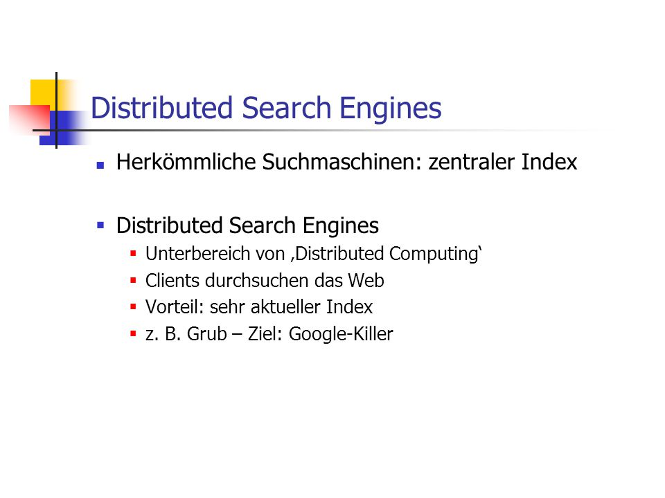Distributed Search Engines