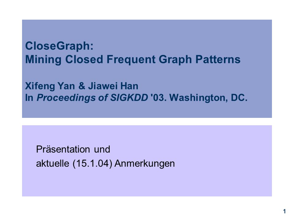 CloseGraph: Mining Closed Frequent Graph Patterns Xifeng Yan & Jiawei Han In Proceedings of SIGKDD 03. Washington, DC.