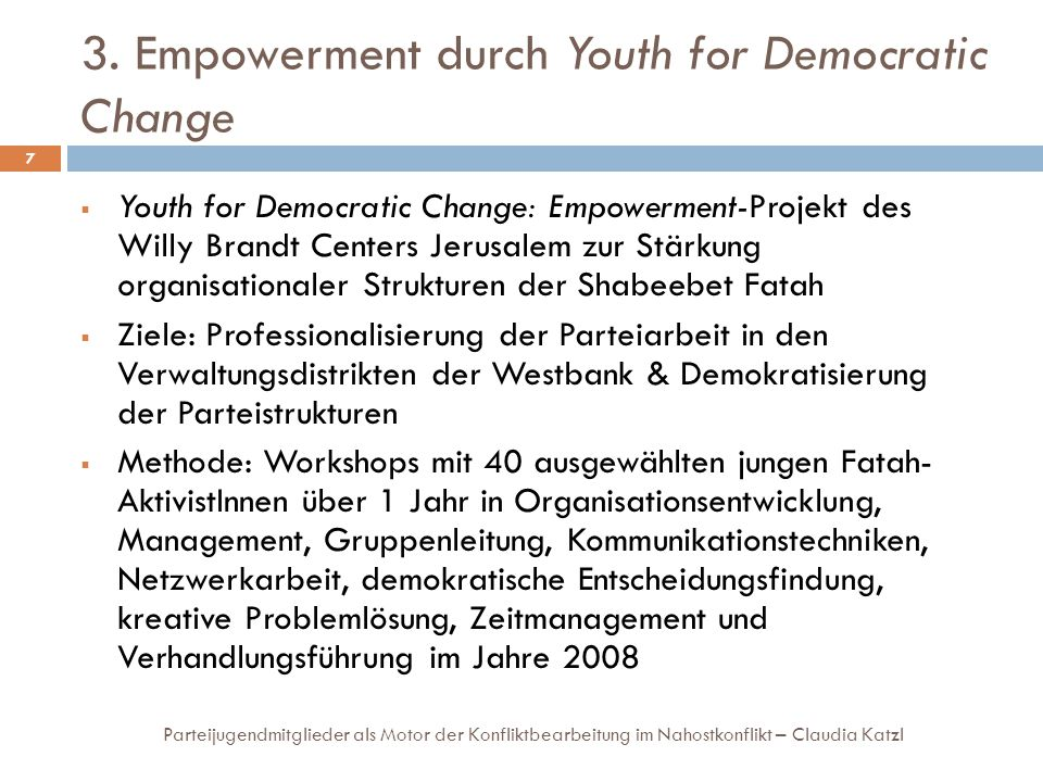 3. Empowerment durch Youth for Democratic Change