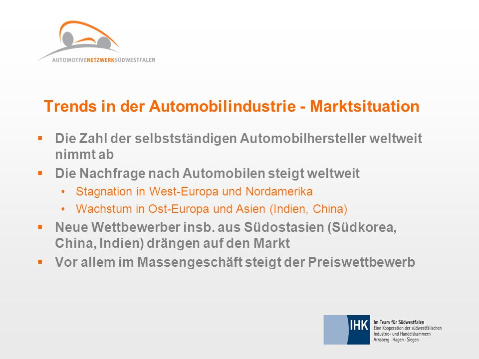 Trends in der Automobilindustrie - Marktsituation