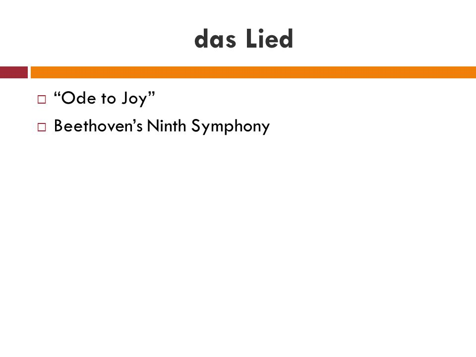 das Lied Ode to Joy Beethoven's Ninth Symphony