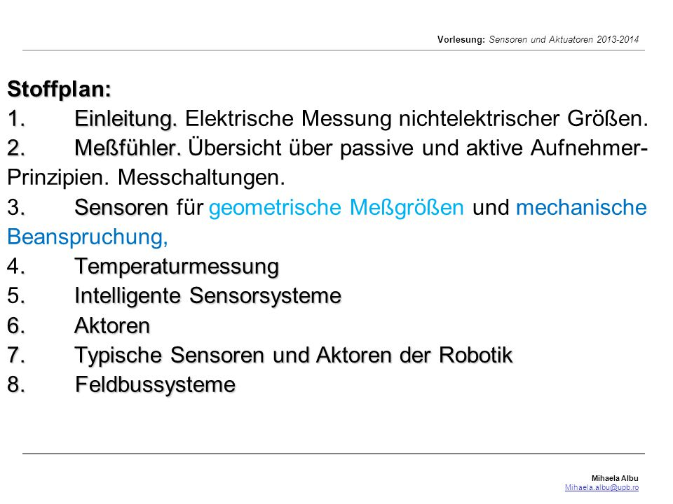 Sensoren und Akt[uat]oren Vorlesungen und Labor Ingenieurswesen ...